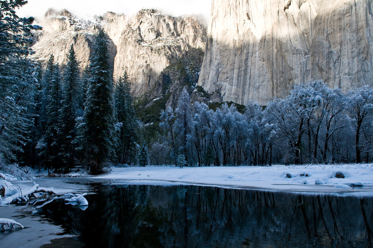 Reflections at the base of El Cap, Yosemite