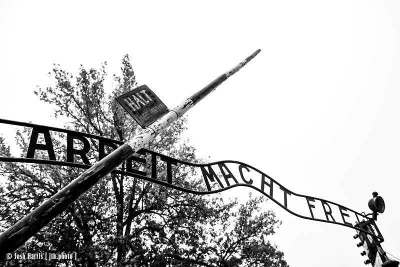 Entrance, Auschwitz,  Poland, October 2018.