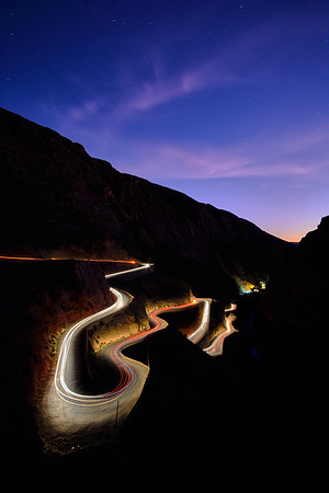 Historic Dades Gorge Road, Morocco.  The 100-mile road winds through the Atlas Mountains and passes countless old kasbahs along the way.