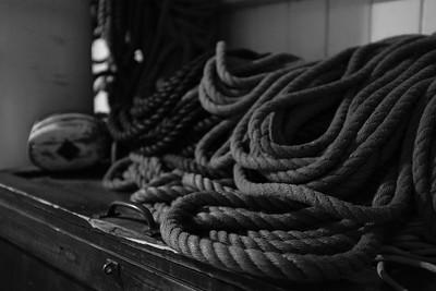Coils of line belowdecks