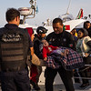 A boat arrives at Skala Sikamineas port on Lesbos, Greece, with an Afghan family of seven from<br /> Baghlan. The youngest is just over 12 months old. Their home district was overrun by the Taliban and the family decided to flee.<br /> <br /> Lesbos, September 2016<br /> <br /> NRC/Jim Huylebroek