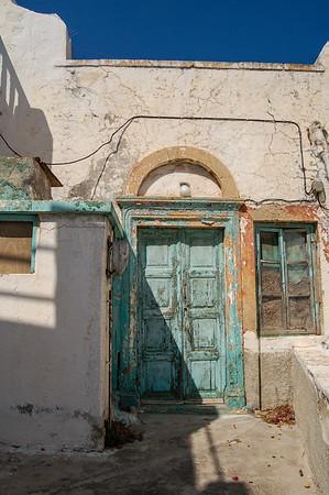weathered door and window in Patmos, Greece