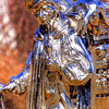March 16, A unique chrome statue on the Mall in Washington DC. It sits near the Smithsonian Castle but I have been unable to find the artist or a description of the subject.