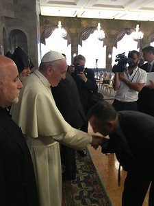 Diocesan Council chair Jim Kalustian greets Pope Francis