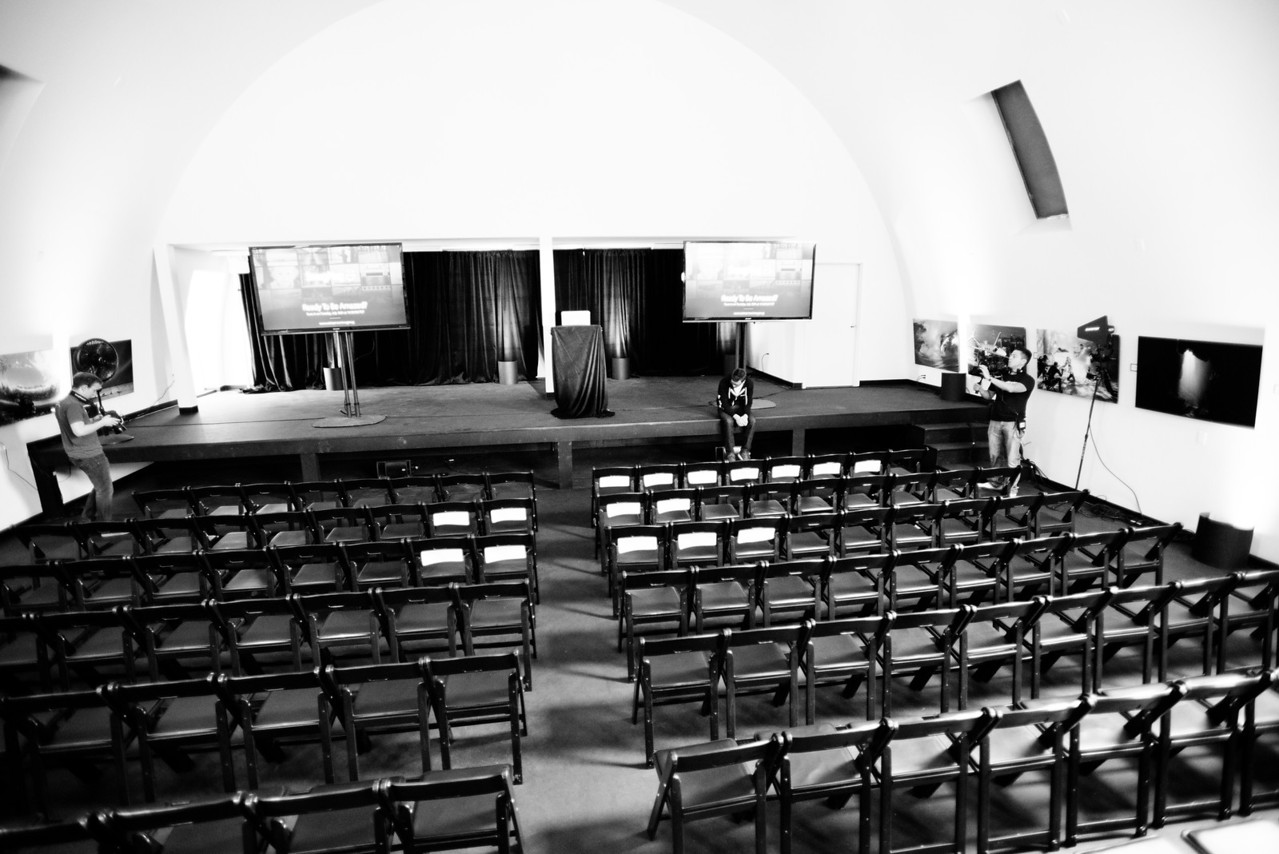 Launch Day, 9:50am. Our studio will soon be filled with 100+ customers, friends, and media. Some have come from as far away as Washington to attend our event. Brian Strong sits alone on stage, taking in a moment of peace before doors open.