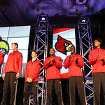 Members of the University of Louisville basketball team were introduced.