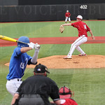 Kade McClure pitched the game opening pitch as UK\'s  leadoff batter Evan White waited for the pitch.