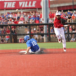 The Card\'s shortstop Devin Hairston threw to first to complete a double play in the top of the 4th inning. UK\'s Luke Becker slid into 2nd.