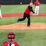 U of L head football coach Bobby Petrino threw the  ceremonial first pitch.