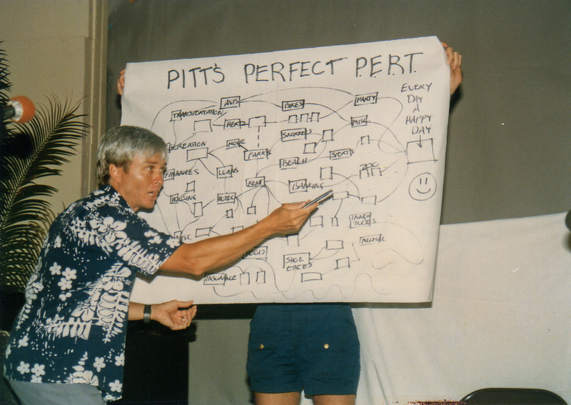 1985 LTS Talent show. Danny Lehmann as Earl Pitts explaining the chart