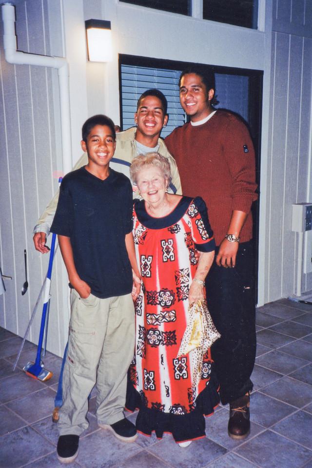 Justin, Joshua and Jason Le'au with Mama Dar