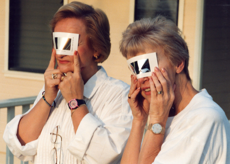 Landa and Darlene watch solar eclipse