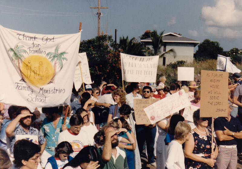 A march around the whole campus took place for several years each Thanksgiving Day. Singles and families with their banners.