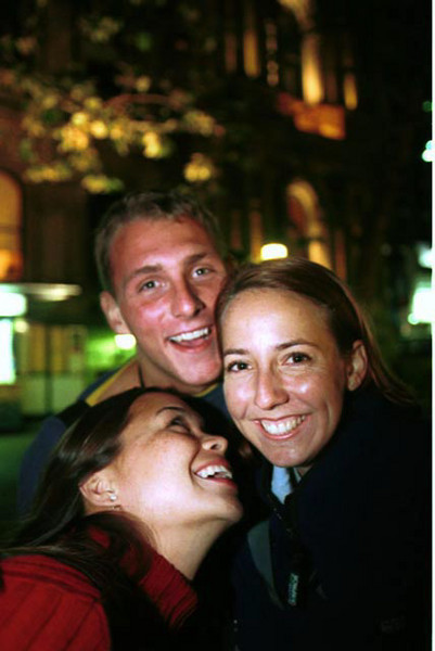 Noelani Ferren, Steve Reid, Mimi Gubser.  SOCDP Students on field assignment in Sydney, Australia during Olympics 2000.