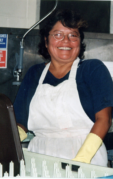 Esther Rodriguez - Bolivia.  Serving in kitchen in Kona.