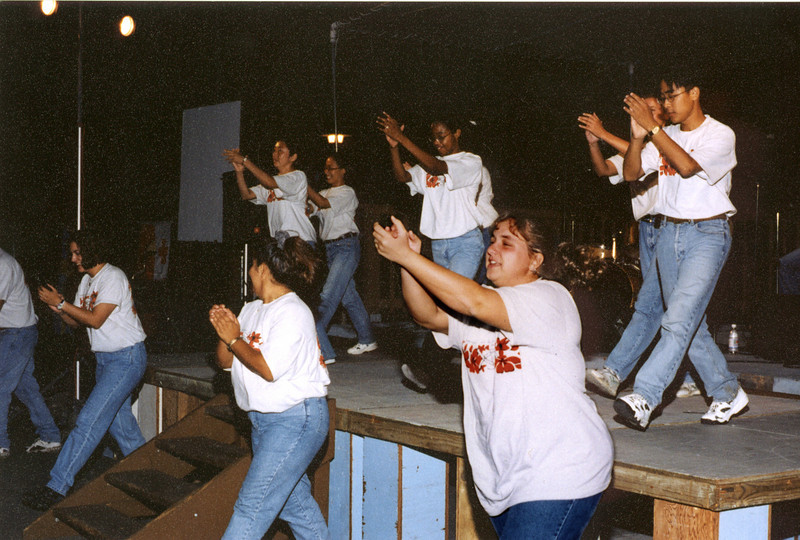 Worship and dance in basketball court before Ohana Court was built