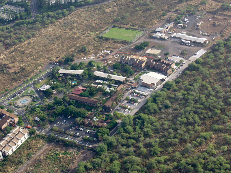 2005 photo of campus shows Plaza of the Nations in bottom left