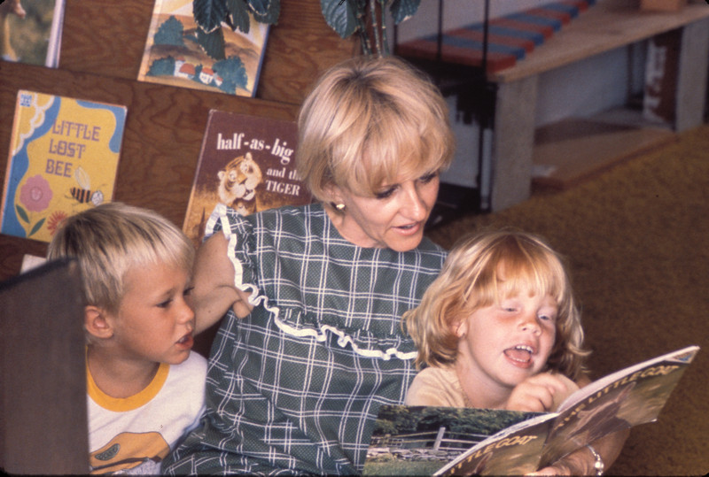 Jan Jones, early UofN Preschool pioneer, with wee-ywamers Kirsten Kauffman and ??