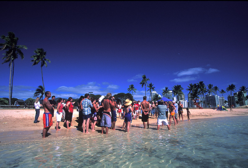 Baptism at Ala Moana Beach Park.  SOW outreach plays for the event.  X-Factory, Grace Bible Church, did the baptism.  2/03