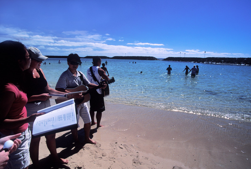 Baptism at Ala Moana Beach Park.  Grace Bible Church did the baptisms.  SOW outreach played worship for the event.  2/03