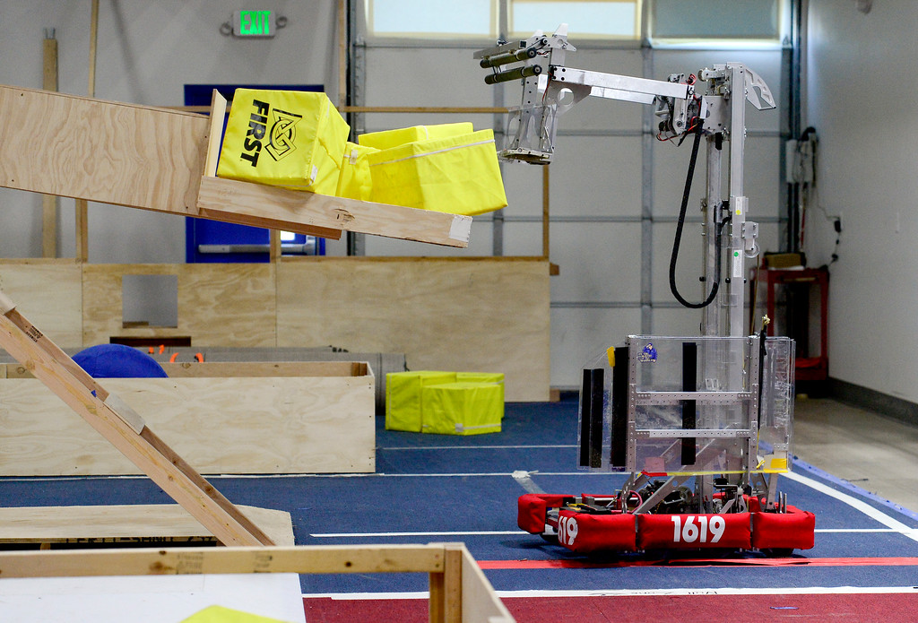 . Niwot High School Senior Zach Olkin and Junior Andrew Arnold (both not pictured) demonstrate their competition winning robot at the Up-A-Creek practice and engineering facility in Longmont, Colorado on May 8, 2018. (Photo by Matthew Jonas/Staff Photographer)