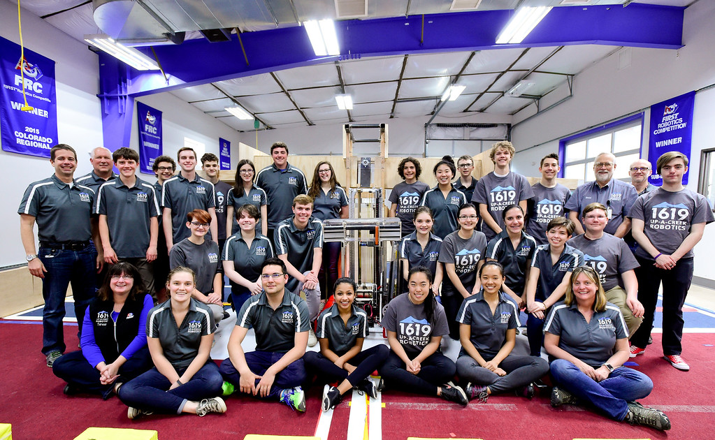 . Up-A-Creek Robotics team at the practice and engineering facility in Longmont, Colorado on May 8, 2018. (Photo by Matthew Jonas/Staff Photographer)