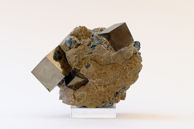 Iron Pyrites cubes in matrix rock from Logrono Spain