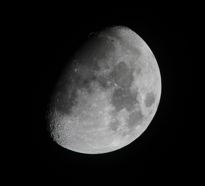 """Still considered """"First Quarter"""" (next Full Moon occurs 28Apr2010).  The benefits of a tripod = the sharpest detail of the moon I've taken so far :)!"""