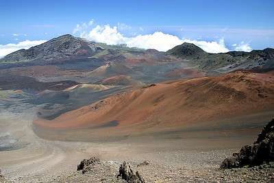 Looking across Haleakala's Summit Basin toward the ocean (15 miles away) and Kaupo Gap (between the two prominent peaks in the near background).