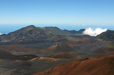 An excellent morning view (looking out from the western rim of the crater) of Haleakala's summit basin on a clear day. The cinder cones and lava flows of the last eruption in the Summit Basin are clearly visible. Haleakala National Park, south Maui.