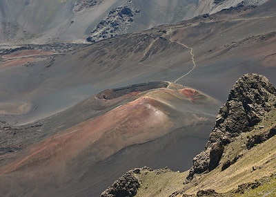 A close-up of one of the recently-erupted cinder cones in the summit basin of Haleakala. The Sliding Sands Trail snakes up and down the summit of the cone. Haleakala National Park, south Maui.