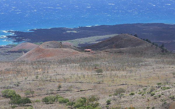 Close-up image of Pu'u o Kanaloa cinder cone, Ahihi Kinau Natural Area Reserve, south Maui.
