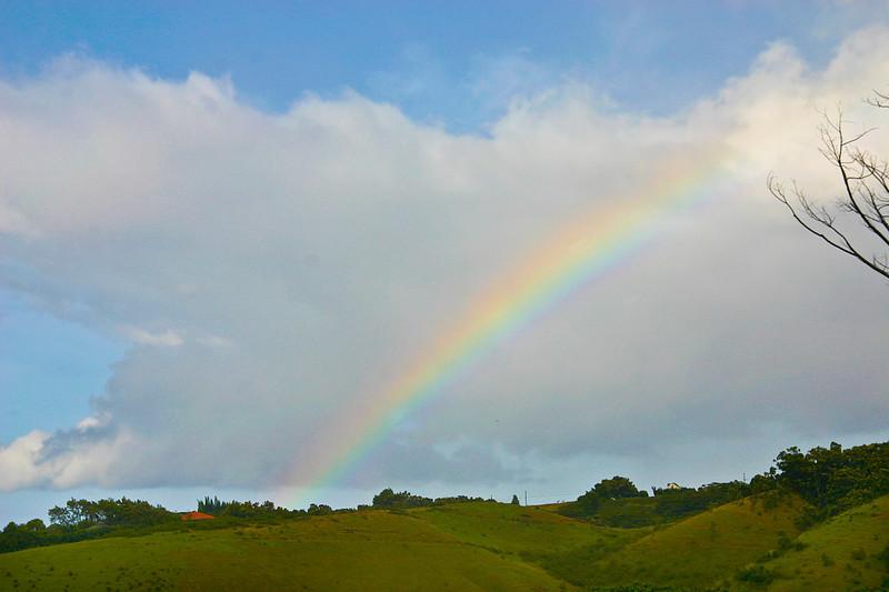 An early morning rainbow, Kua Road, upper Lawai Valley at Hale Kua, south Kaua'i.