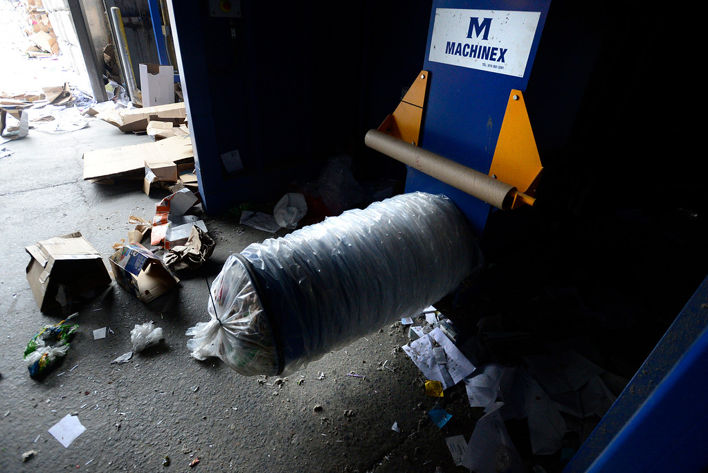 . BOULDER, CO - FEBRUARY 22, 2019 A film plastic condenser creates a sausage of recyclable material at the Boulder County Recycling Center on Friday February 23, 2019 in Boulder on Friday.  Paul Aiken / Staff Photographer