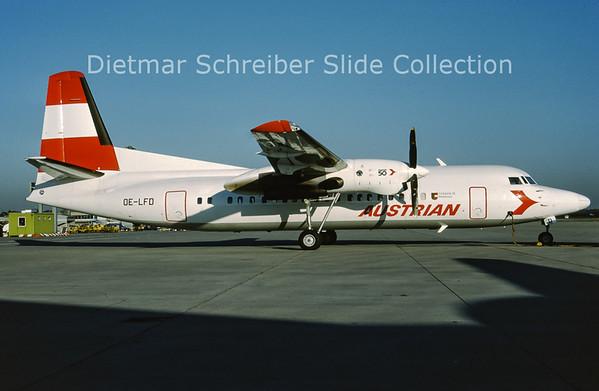1989-11 OE-LFD Fokker F50 (c/n 20144) Austrian Air Service; Austrian Airlines