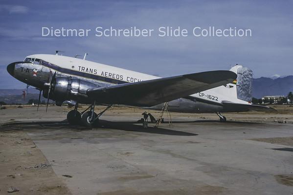 1989-10 CP-1622 Douglas DC-3C (c/n 13336) Trans Aereos Cochabamba