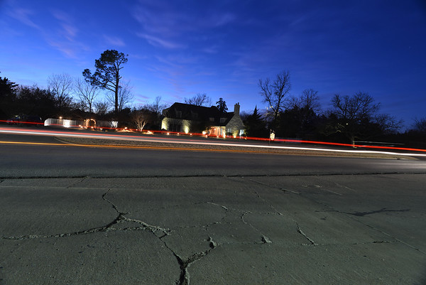 Cracks in the street in front of the Lindley House B&B. <br /> <br /> Photographer's Name: Steve  Olafson<br /> Photographer's City and State: Duncan, OK