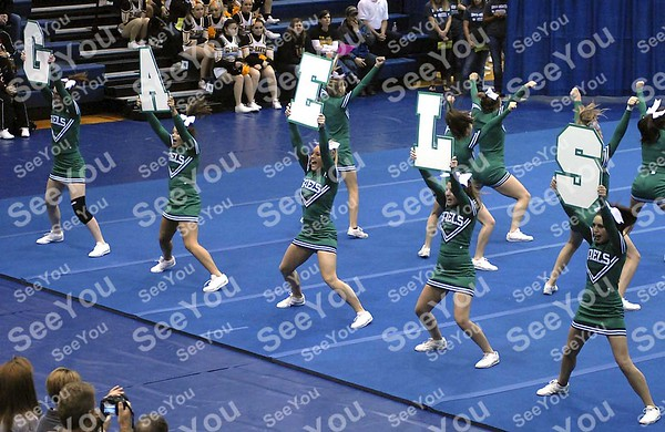 -Messenger photo by Hans Madsen<br /> <br /> Members of the St. Edmond High School cheerleading team spell out Gaels Saturday morning during their routine at the Triton Cheerleading Challange at Iowa Central Community College.