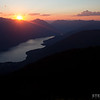 Sunset over Slocan Lake and the Valhalla Mountains from Idaho Peak near New Denver.