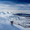 Martin Stenberg gets some late season powder on Middagstinden above Balsfjord in Norway's Lingen Alps.
