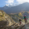 Miranda Murphy and Todd Weselake riding singletrack near Manang, Nepal.