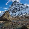 Emelie Stenberg hikes towards Lakselvtinden in Norway's Lingen Alps.