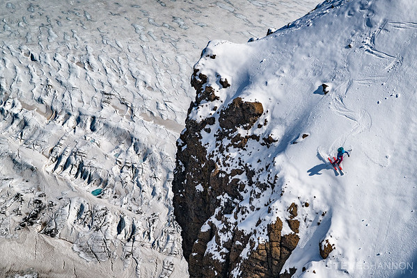 Mel Bernier skis an exposed line above Skaftafellsjökull in Iceland.
