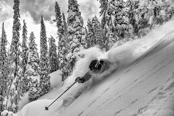 Athlete: Sean Cochrane<br /> Location: Revelstoke, BC<br /> Another storm, another powder turn.  So goes the life of the ski guide.  Sean digs one deep in the legendary glades of the Selkirk Mountains.