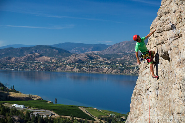 Skaha Bluffs near Penticton, BC is a classic climbing area.  With its incredible views of Okanagan vineyards and Skaha Lake, Plum Line is a favourite climb amongst locals and visitors alike.