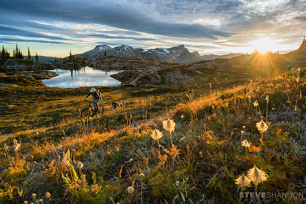 Hannah Levine and bud chasing sunset in the Monashee Mountains.