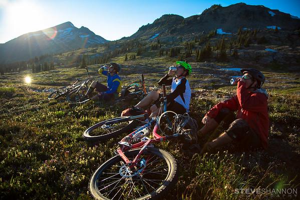 Enjoying a cold one near Sol Mountain Lodge in the Monashee Mountains, British Columbia.<br /> Athletes: Jordie McTavish, Matt Yaki and Rylan Kappler