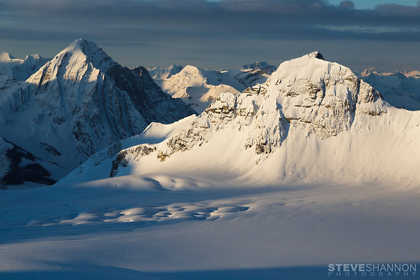 Arras Mountain and the Lyell Icefield.<br /> Location: Icefall Lodge, BC