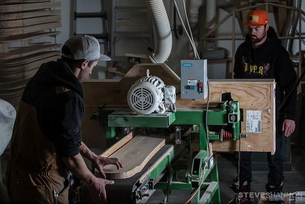 Handcrafting splitboards at Trapper Snowboards.<br /> Models: Scott Heale and Robert Sim<br /> Location: Revelstoke, BC