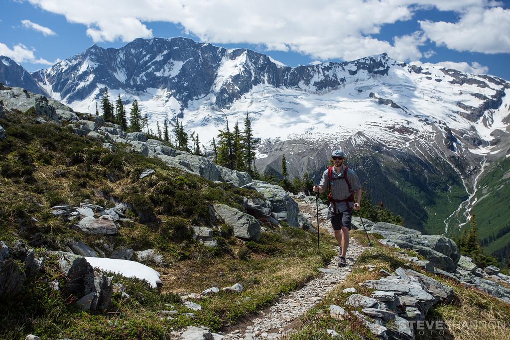 hiking, Abbott Ridge Trail, Rogers Pass, Revelstoke, British Columbia, Canada,  Selkirk Mountains, Mount Bonney, Bonney Glacier